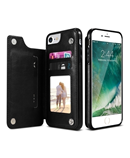 KISSCASE Black PU Leather Iphone Wallet Case